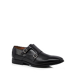 Clarks - Black leather 'Gilman' monk strap shoes