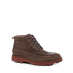 Clarks - Brown leather 'Korik Rise' lace up boots