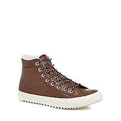 Converse - Brown leather 'Chuck Taylor All Star' hi-top trainers