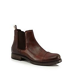 Jack & Jones - Brown leather 'Greg' Chelsea boots
