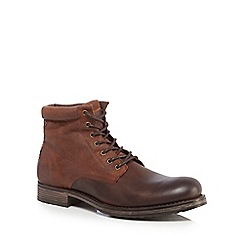 Jack & Jones - Brown leather 'Justin' lace up boots