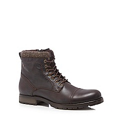 Jack & Jones - Dark brown leather 'Marly' lace up boots