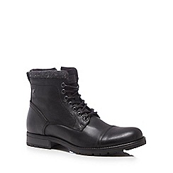 Jack & Jones - Black leather 'Marly' lace up boots