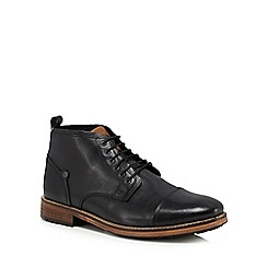 Original Penguin - Black leather 'Stan' lace up boots