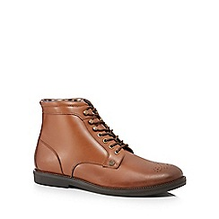 Original Penguin - Tan leather 'Legacy' lace up boots