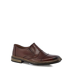 Rieker - Dark brown leather slip on shoes