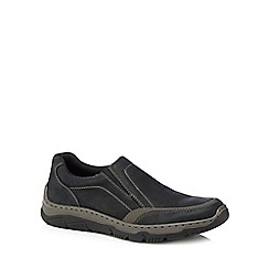 Rieker - Black leather slip-on trainers