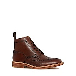 Loake - Plum leather 'Naseby' brogue boots