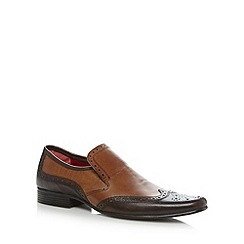 Red Tape - Brown leather punched slip on shoes
