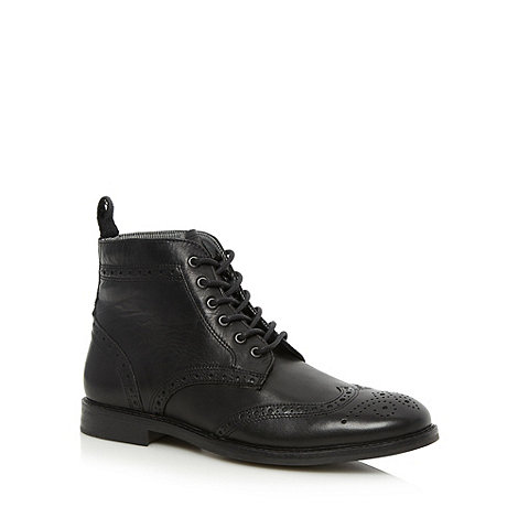 Red Tape - Black leather brogue boots