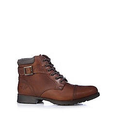 Red Tape - Tan leather lace up boots
