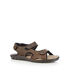 Red Tape - Brown leather rip tape sandals