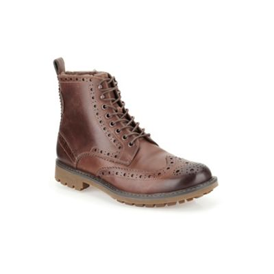 Clarks Brown Leather Montacute Lord Boots - . -