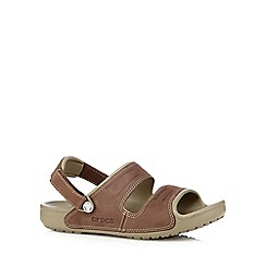 Crocs - Tan two strap leather sandals