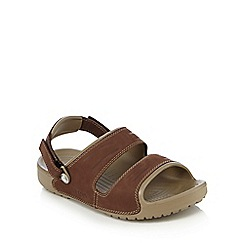 Crocs - Khaki two strap leather sandals