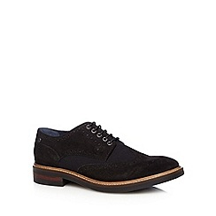 Base London - Black suede and canvas lace up brogues