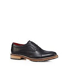 Base London - Black leather seamed toe cap shoes