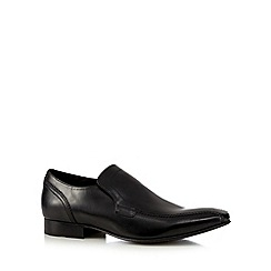 Base London - Big and tall black leather slip on shoes