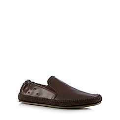 H By Hudson - Brown leather casual slip ons
