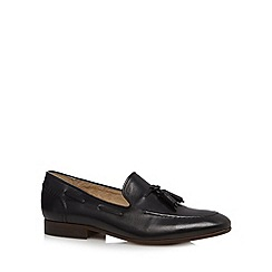 H By Hudson - Black leather tassel slip on shoes
