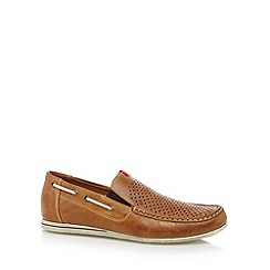 Rieker - Tan perforated slip on shoes