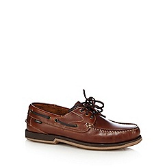 Loake - Tan leather lace up boat shoes