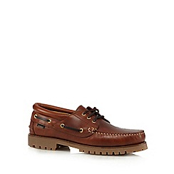 Loake - Brown leather lace up boat shoes
