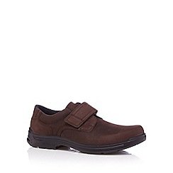 Hotter - Chocolate leather rip tape slip on shoes