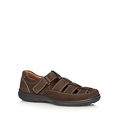 Hotter - Brown leather rip tape sandals