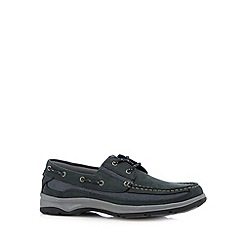 Hotter - Navy leather lace up boat shoes