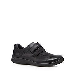 Hotter - Black leather dual fit rip tape shoes