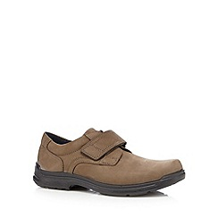 Hotter - Taupe leather rip tape cushioned shoes