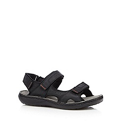 Hotter - Black leather rip tape sandals