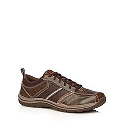 Skechers - Dark brown 'Expected-Devention' leather lace up trainers