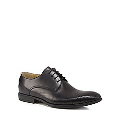Steptronic - Big and tall black leather perforated detail shoes