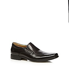 Steptronic - Black leather stitched front slip ons