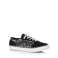 Vans - Black suede botanical printed trainers