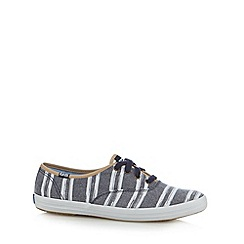 Keds - Navy wash effect striped plimsolls