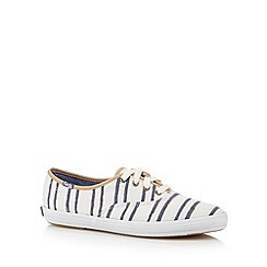 Keds - White wash effect striped plimsolls