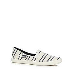 Keds - Off white striped washed canvas slip on shoes