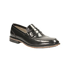Clarks - Gatley Step Black Leather Slip on Loafers