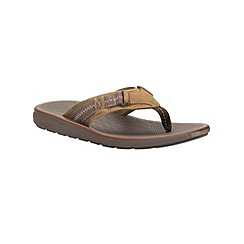 Clarks - Big and tall kernick beach tan nubuck toe post sandal