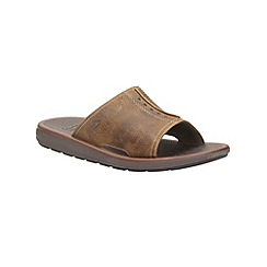 Clarks - Kernick Shore Tan Nubuck Open Toe Mule Sandals