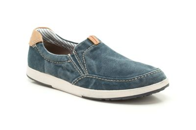 Clarks Norwin Easy Navy Canvas Casual Slip on Shoe - . -