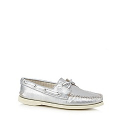 Sperry - Silver metallic suede boat shoes