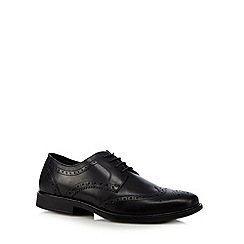 Red Tape - Black leather square brogues