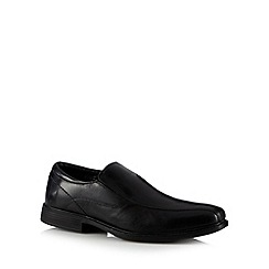 Red Tape - Black leather tramline stitch slip ons