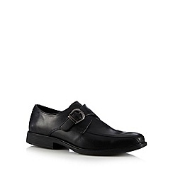 Red Tape - Black leather buckle tramline shoes