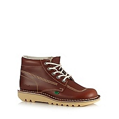 Kickers - Tan leather contrast stitched chukka boots