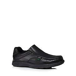 Kickers - Black leather 'Reason' slip on shoes